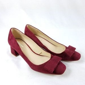 Zara Basic Collection Burgundy Block Heel Size 40